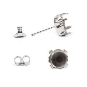 Titanium Plated Earring Post and Earring Back to Fit SS39 Crystal 1xPair