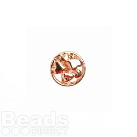 Rose Gold Plated Slider Charm Bead Heart Design 12mm Pk1