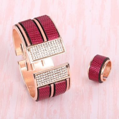 Raspberry Glam Bangle & Ring