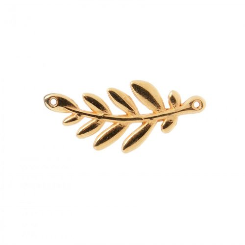 """""""X"""" Gold Plated Zamak Olive Branch Connector Charm 37x17mm Pack 1"""