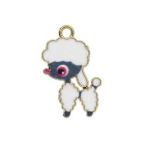 SweetCharm ™ Poodle  / pendant charms / 24x14x1.5mm / gold plated / white / 1pcs