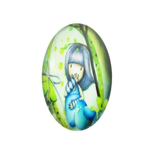 Glass cabochon with graphics oval 13x18mm PT1515 / green-blue / 2pcs