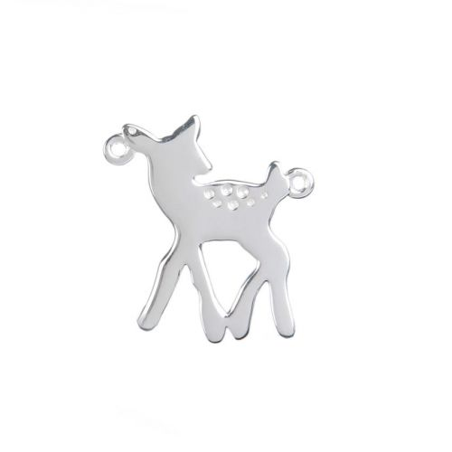 X- Sterling Silver 925 Bambi/Deer Connector Charm 18x20mm Pk1