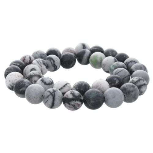 Picasso jasper / round / 10mm / grey-black / 38pcs
