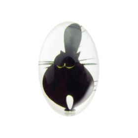 Glass cabochon with graphics 13x18mm PT1542 / black and white / 2pcs