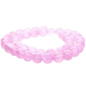 Jade transparent / round / 12mm / pink / 34pcs