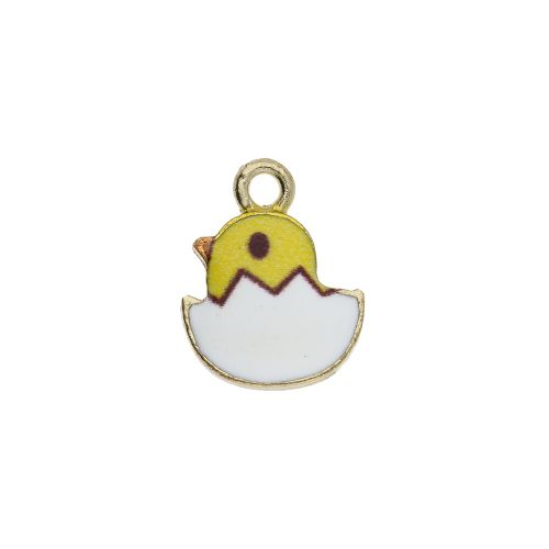 SweetCharm™ chick / pendant charm / 15x12x2.5mm / gold plated / 2pcs