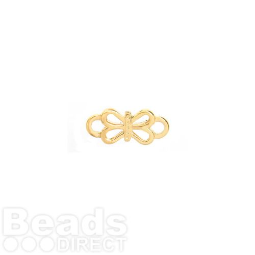 Gold Plated Bow Connector Charm 6x14mm Pk1