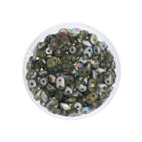 SuperDuo™ / glass beads / 2.5x5mm / Matte Vitral / Black Diamond / 10g / ~140pcs