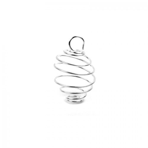 Silver Plated Spiral Coil Bead Cage 5x16mm Pk10