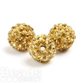 Gold Round 10mm Essential Shamballa Fashion Bead Pk3