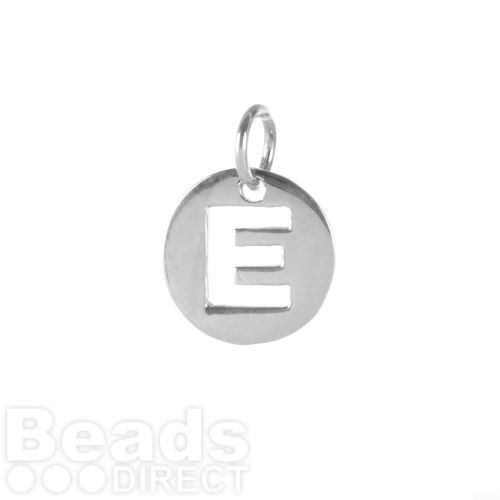 Sterling Silver 925 'E' Letter Cut Out Charm 11mm Pk1