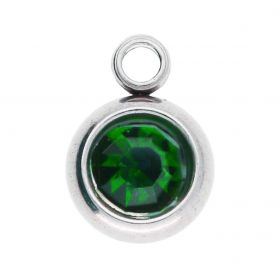 Zircon pendant / surgical steel / 8x6x3mm / emerald / silver / 2pcs