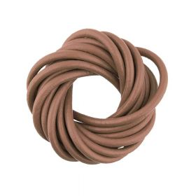 Leather / natural / round / 3mm / light brown / 2m