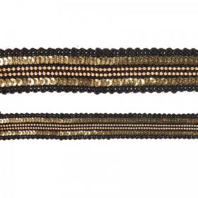 Black and Gold Woven Fabric Cord 20mm 180cm