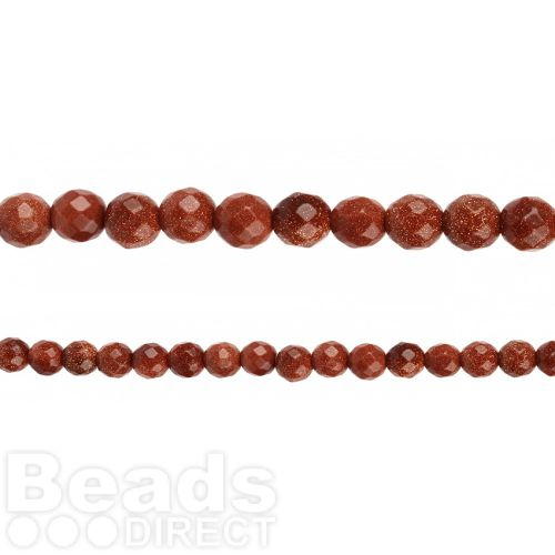 """Brown Goldstone Faceted Round Beads 8mm 14"""" Strand"""