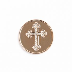 Small Rose Gold Crystal Cross Coin Disk for Interchangeable Locket 24mm Pk1