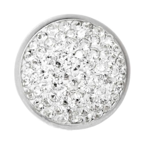 Silver Plated Interchangeable Snap On Disk Pave Clear Crystal 20mm Pk1