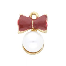 SweetCharm ™ Pearl with a bow  / charm pendant / 21x15x11mm / gold plated / pearl / 2pcs