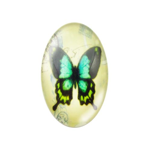 Glass cabochon with graphics oval 13x18mm PT1524 / green / 2pcs