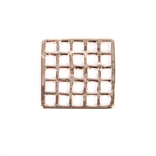Rose Gold Plated Square Grid Connector/Charm 30mm Pk1