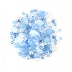 Preciosa Czech Glass Bead Mix Light Blue 50g