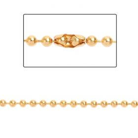 Gold Plated Brass 3mm Ball Chain with 2 Clasps 1metre