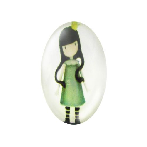 Glass cabochon with graphics oval 13x18mm PT1509 / green / 2pcs