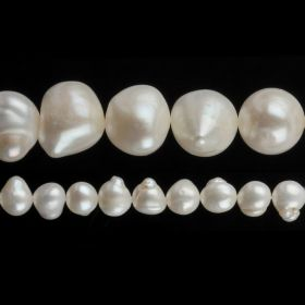 "White Freshwater Pearl Beads Nuggets 10-11mm 16"" Strand"