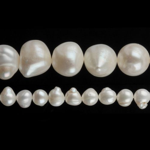 """White Freshwater Pearl Beads Nuggets 10-11mm 16"""" Strand"""