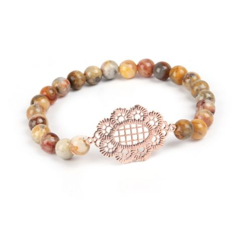 'Filigree Gems' Rose Gold Lace Bracelet