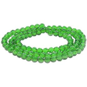 CrystaLove™ / glass crystals / round / 4mm / peridot / lustered / 100pcs