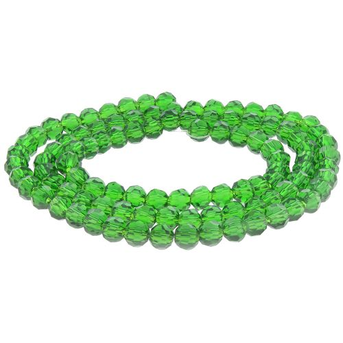 CrystaLove™ crystals / glass / round / 4mm / peridot / lustered / 100pcs