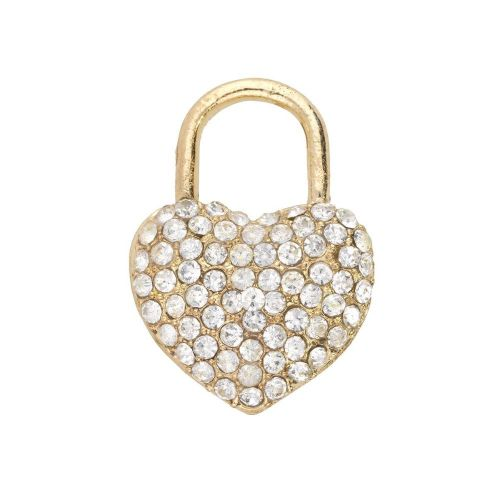 Glamm ™ Heart / charm pendant / with zircons / 23x16.5x6mm / gold plated / 1pcs