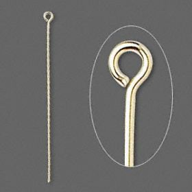 Gold plated eyepins 0.5x50mm PACK 100