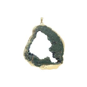 Druzy agate / pendant / irregular / 78x68x11mm / dark sea / 1pcs