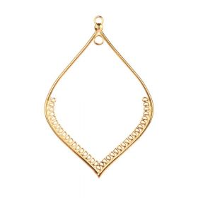 Gold Plated Zamak Large Leaf Hollow Dreamcatcher Charm 80x118mm Pk1
