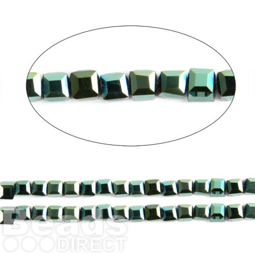 "Green Full Coat Essential Crystal Glass Faceted Cube Beads 3mm 13"" Strand"