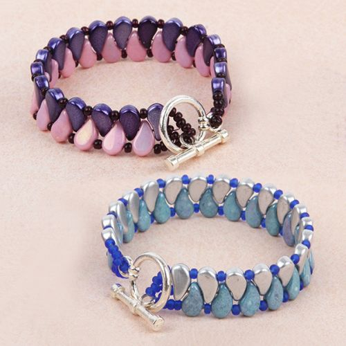 X- Silver and Purple/Pink Paisley Duo TAMB Bracelet Kit - Makes x2