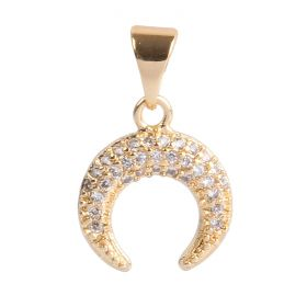 Gold Plated Horn Charm w/Bail Zircon Crystals 11mm Pk1