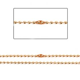 Rose Gold Brass 2mm Ball Chain with 2 Clasps 1metre