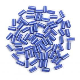 Preciosa Pressed Glass Rola Beads Frosted Blue/White 3.5x7mm 10g