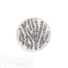 KB Small Matte Silver Purple Crystal Coin Disk for Interchangeable Locket 24mm Pk1
