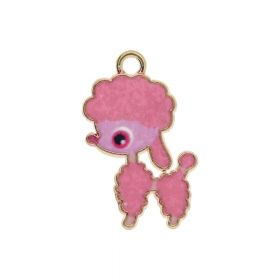 SweetCharm ™ Poodle / pendant charms / 24x14x1.5mm / gold plated / pink / 1pcs