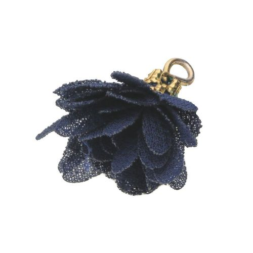 Tulle flower / with openwork tip / 18mm / Gold Plated / navy blue / 4 pcs