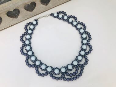Learn how to create a beaded collar necklace - step by step tutorial