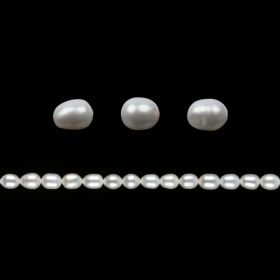 White Freshwater Pearl Beads Rice 6-7mm Pk10