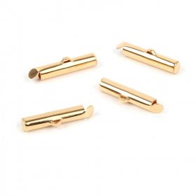 Gold Plated Brass Multi Strand Tube End 4x20mm Pk4