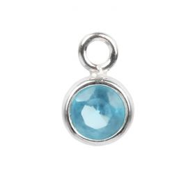 Sterling Silver 925 Turquoise CZ December Birthstone Charm 5mm Pk1