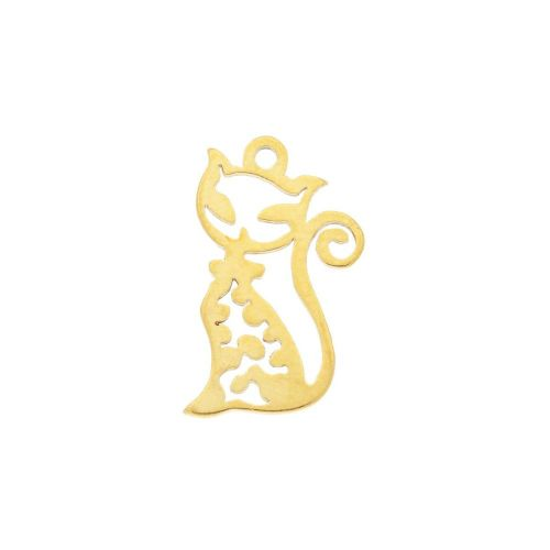 Kitty / charm / surgical steel / 16x10mm / gold / 2pcs